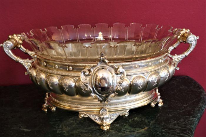 Details Zu Ausgefallene Historismus Jardiniere Mit Glaseinsatz In 800 Silber